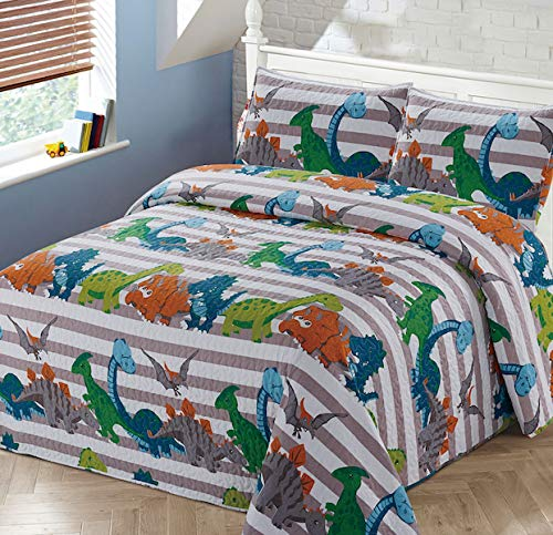 Luxury Home Collection 2 Piece Twin Size Quilt Coverlet Bedspread Bedding Set for Kids Boys Toddlers Dinosaur Blue White Green Orange Gray