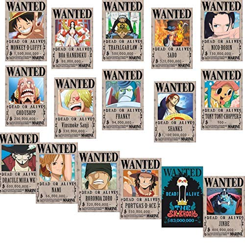 Big Fun One Piece Wanted Posters 42cm�29cm, New Edition, Luffy 1.5 Billion, Set of 16