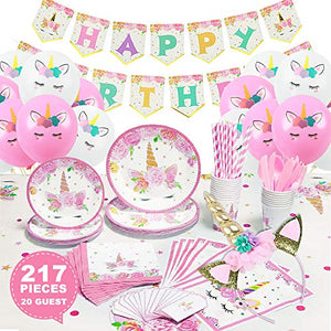 217 Piece Unicorn Party Supplies Kit, Paper Plates, Cups, Napkins, Straws, Table Cloth, Invitation Cards, Balloons and Headband for Girls Birthday Party Decorations, Serves 20
