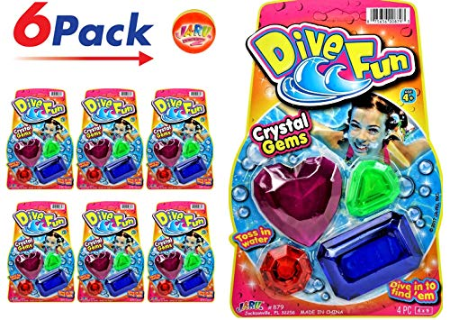 JA-RU Diving Gems Dive Crystals (6 Packs) Diving Toys Fun Swimming Pool Dive Toys Gem Diving Training Toy Sinker for Kids | Plus 1 Collectable Bouncy Ball I Item #879-6p