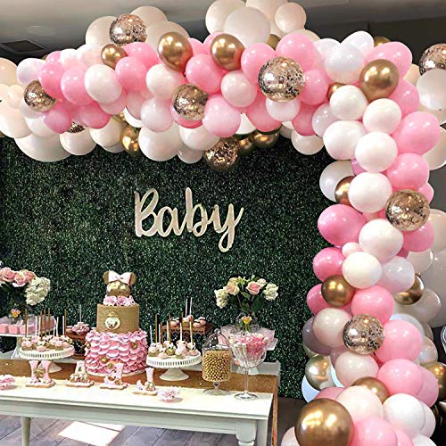 Pink Balloon Arch Garland Kit - 124 Pieces White Pink Gold and Gold Confetti Latex Balloons for Baby Shower Wedding Birthday Graduation Anniversary Bachelorette Party Background Decorations