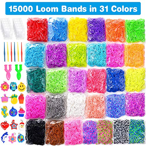 15000 Loom Bands In 31 Colors Rubber Loom Band Refill Kit for Boy Girl Weaving DIY Craft Gift Set Include: + 500 Cute Clips+ 6 Hooks + 15 Charms