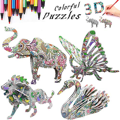 DDMY 3D Coloring Painting Puzzles Set DIY Arts and Crafts for Girls & Boys-Perfect Creativity Kit & Ideal Kids and Adults Gifts! -STEM Educational Assembly Toys (4pack)