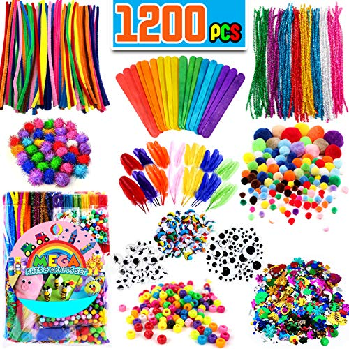 FunzBo Arts and Crafts Supplies for Kids - Craft Art Supply Kit for Toddlers Age 4 5 6 7 8 9 - All in One D.I.Y. Crafting Collage Arts Set for Kids (X-Large)