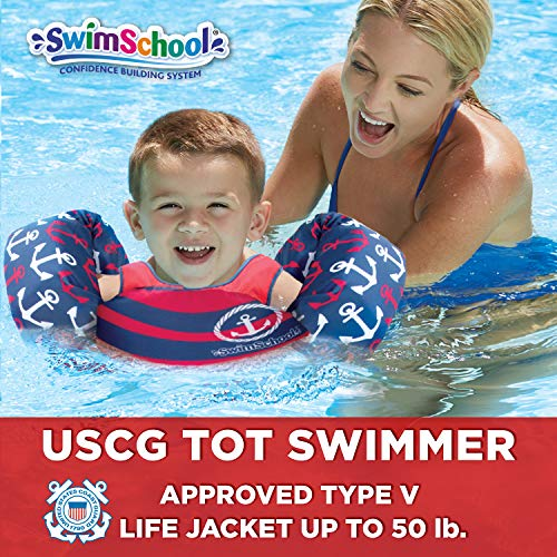 SwimSchool USCG Approved TOT Swimmer, Arm Floaties, Puddle Jumper, Type V Life Jacket/PFD, Medium/Large,  Navy Nautical