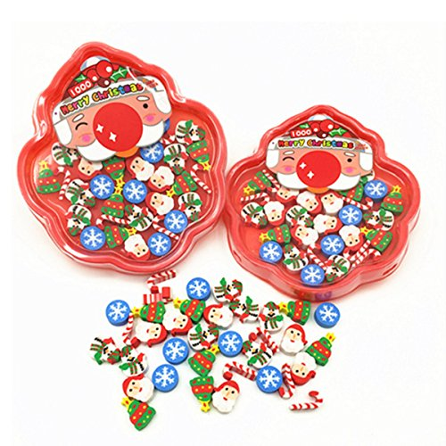 OKOK Christmas Erasers for Holiday, 120+ Pcs, Amazing Kids Students Gift, Party Prizes Favors, 3 Box