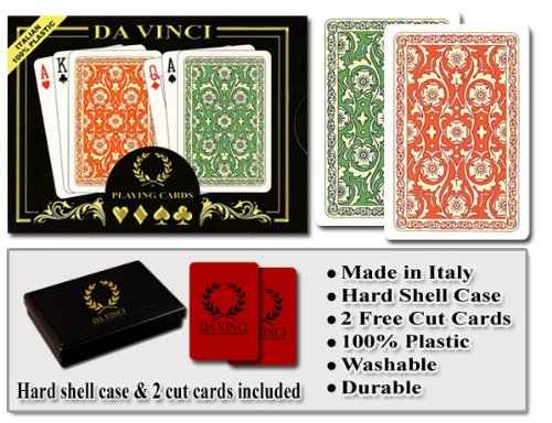 DA VINCI Venezia, Italian 100% Plastic Playing Cards, 2-Deck Set, Regular Index