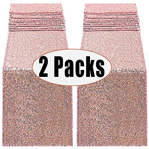 FECEDY 2 Packs 12 x 108inch Glitter Rose Gold Sequin Table Runner for Birthday Wedding Engagement Bridal Shower Baby Shower Bachelorette Holiday Celebration Party Decorations
