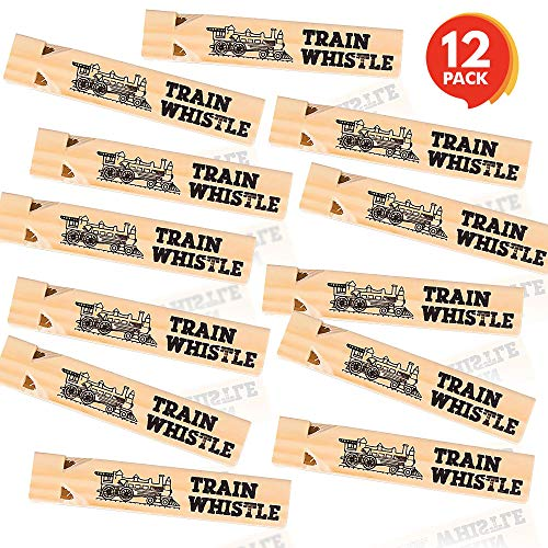 ArtCreativity 5.75 Inch Wooden Train Whistle Set - Pack of 12 - Toy Wood Whistles - Fun Train Birthday Party Supplies, Cool Favors, Conductor Prop, Contest or Carnival Prize for Boys and Girls