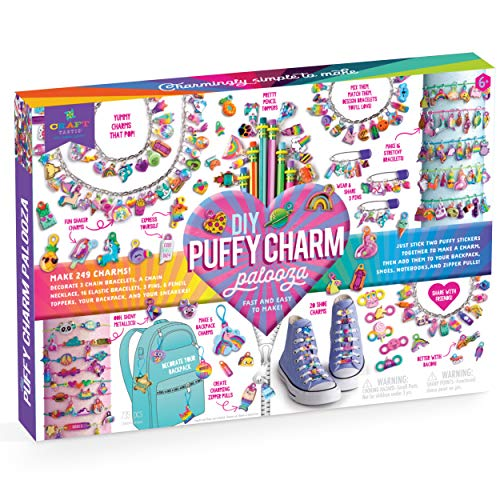 Craft-tastic – Puffy Charm Palooza Craft Kit – Makes 249 Charms! – Decorate Bracelets, a Necklace, Pins, Pencil Toppers, and More!