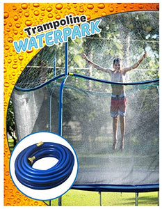 Trampoline Waterpark Heavy Duty Sprinkler Hose- Fun Summer Outdoor Water Game Toys Accessories - Best for Boys & Girls and Adults - Made to Attach On Safety Net Enclosure - Tool Free