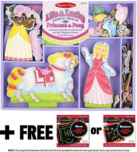 Melissa & Doug Lila & Lucky: Magnetic Dress-Up Set & 1 Scratch Art Mini-Pad Bundle (09281)