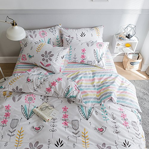 HIGHBUY Kids Duvet Cover Twin Floral Bedding Sets Cotton Comforter Cover Garden Bedding Sets 3 Piece for Boys Girls Reversible Striped Bedroom Collections Twin,Style03