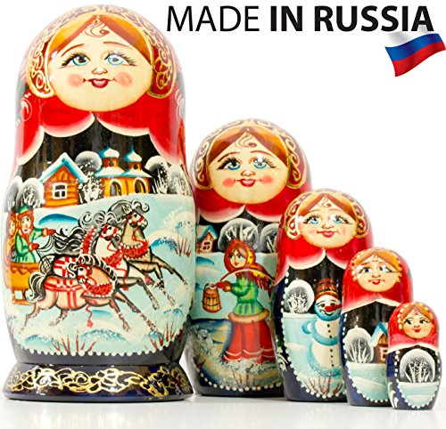 Russian Nesting Doll - Village Scenes - Hand Painted in Russia - Traditional Matryoshka Babushka (Scene I, 6.75``(5 Dolls in 1))