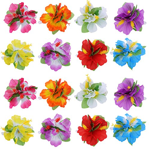 BBTO 24 Pieces Flower Hair Clips Multicolor Hawaiian Hibiscus Flower Hair Accessories for Girls Women Beach Wedding Party Supplies