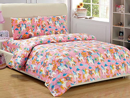 Mk Collection Sheet Set Unicorn Pink Purple White Blue Orange New (Full)