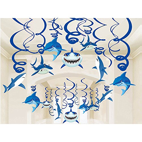 HADEEONG Shark Party Supplies Hanging Swirls Kids Birthday Decorations for Shark Sea Themed Splash Ceiling Foil Ornaments (30 PCS)
