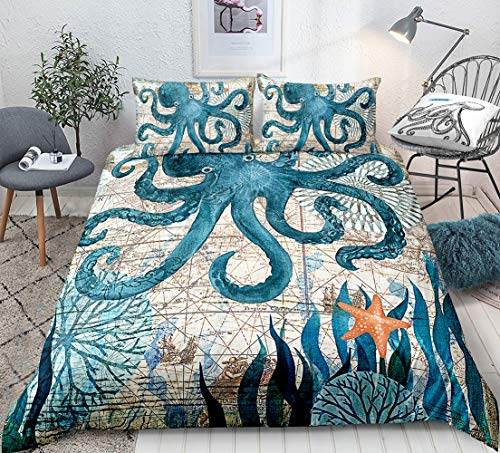 Octopus Duvet Cover Set Twin Size 3D Octopus Printed Decorative Bedding Marine Mediterranean Style Quilt Cover Teal Ocean Animal Bedding Sets Ocean Park Theme Comforter Cover Kids Adult Teens