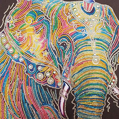 Bestlus Premium 5D Elephant Diamond Painting Kits for Adults DIY Painting Kits by Numbers Special Shaped Rhinestones Partial Drill (12x12 inch)