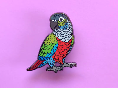Crimson Bellied Conure Hard Enamel Pin