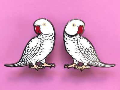 Indian Ringneck (White/Albino) Hard Enamel Pin