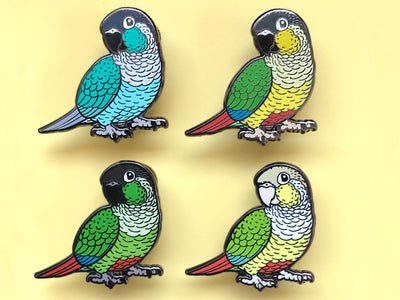 Green-Cheeked Conure Hard Enamel Pin