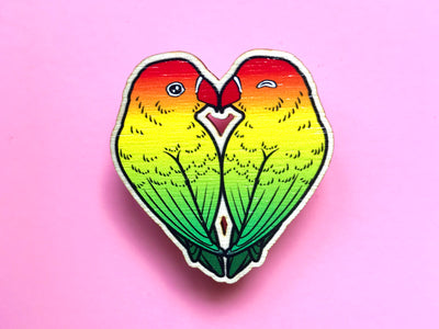 Lovebirds Wooden Pin