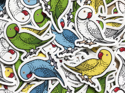 Indian Ringneck Mini Sticker Pack (20 pack) - Waterproof Vinyl