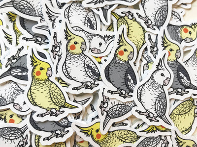 Mixed Cockatiel Mini Sticker Pack (20 pack) - Waterproof Vinyl