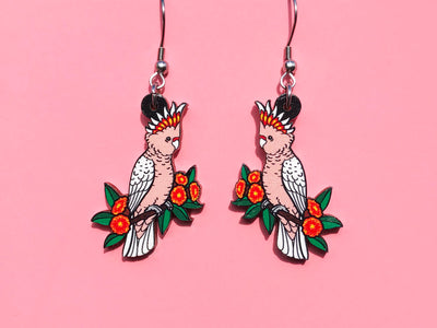 Major Mitchell's Cockatoo Wooden Earrings