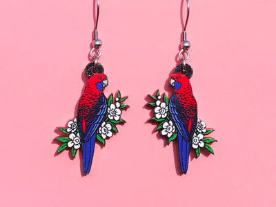 Crimson Rosella Wooden Earrings