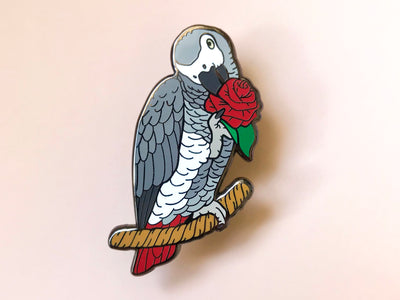 Bean the Congo African Grey Hard Enamel Pin