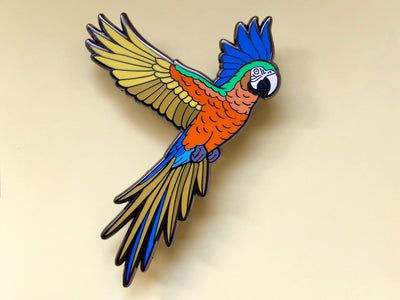 Tusa the Camelot Macaw Hard Enamel Pin