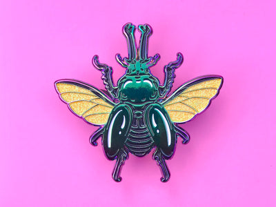 Rainbow Stag Beetle Black Enamel Pin