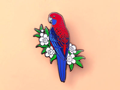 Crimson Rosella Hard Enamel Pin