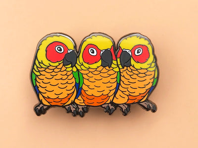Lily, Phoebe & Detka The Sun Conure Sisters Hard Enamel Pin