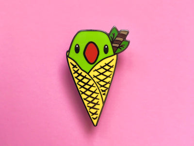 Peppermint Parrot I-Screams Hard Enamel Pin