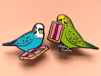 Budgie Bickie Break Hard Enamel Pin Set