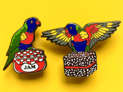 Lorikeet Lamington Lunch Hard Enamel Pin Set