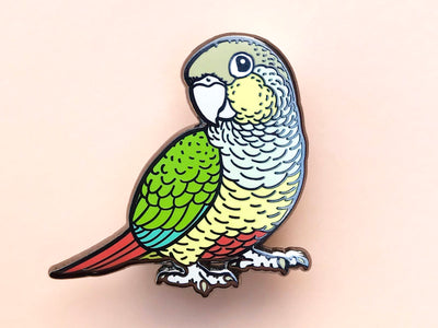 Pineapple Green-Cheeked Conure Hard Enamel Pin