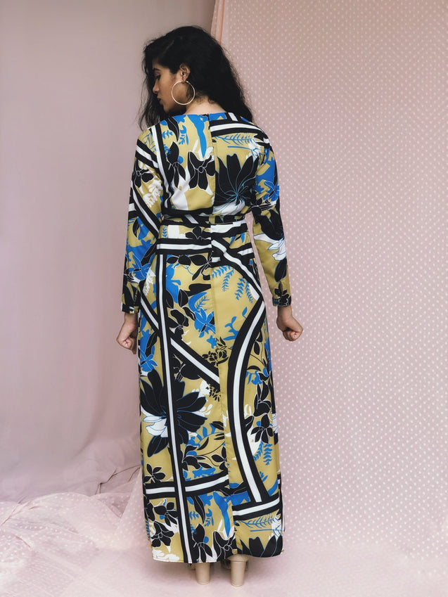 JEZZA Abstract Printed Long Modest Dress MRJZ29271
