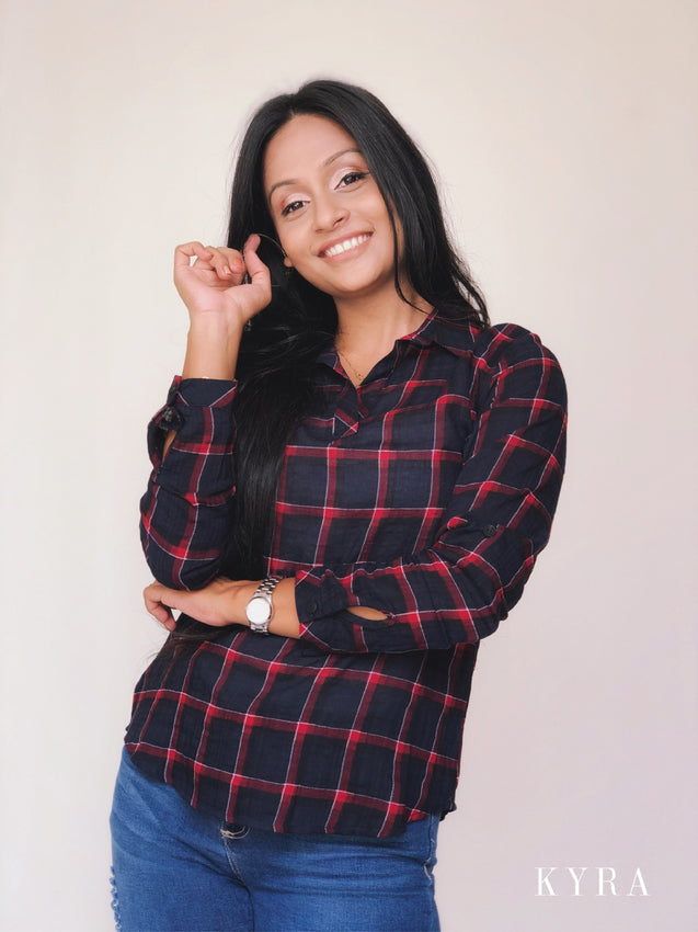 KYRA Plaid Work Wear Blouse F200864