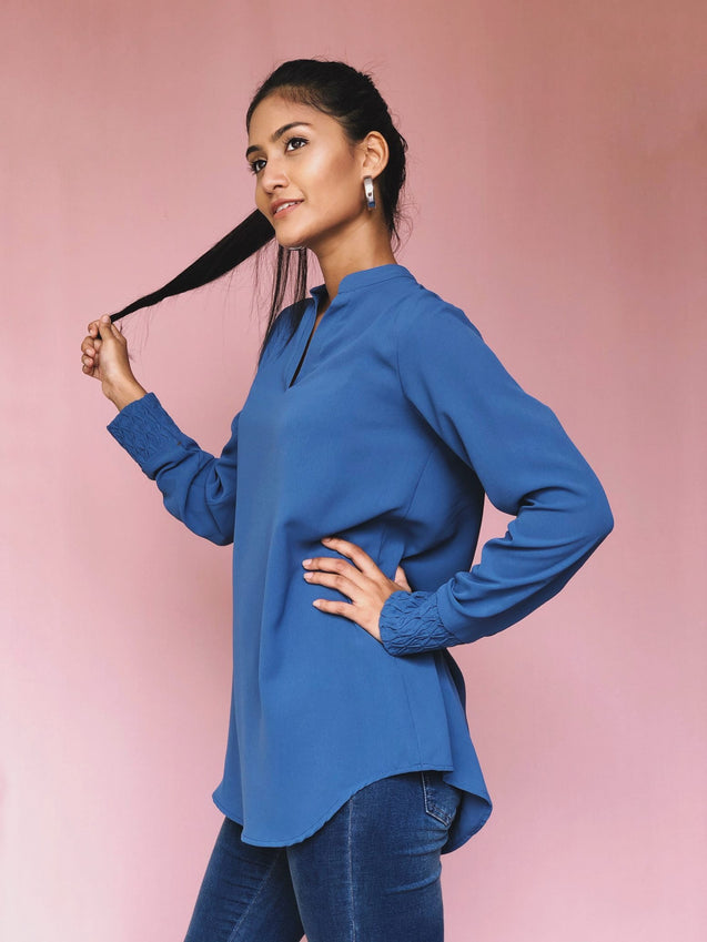 JEZZA Solid Color Long Modest Top with Decorated Sleeve Cuff JUJZ29671