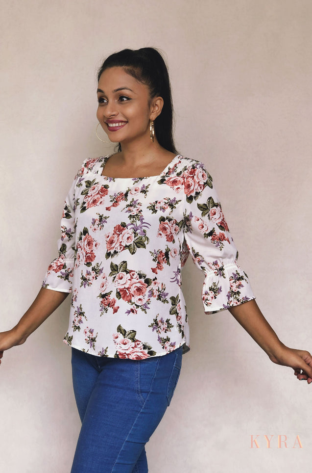 KYRA Floral Print Work Wear Blouse O100340