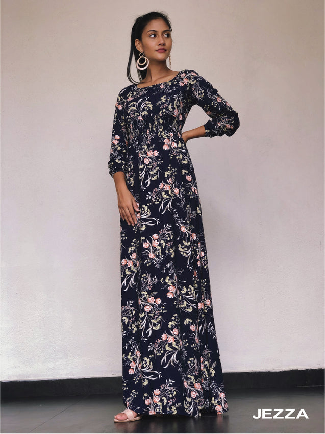 JEZZA Ledger Casual Maxi Dress JAJZ27722