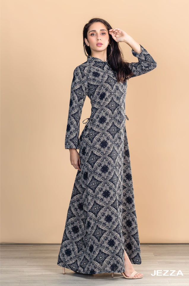 JEZZA Women's Printed Long Sleeve Maxi Dress Frock DECJZ31823