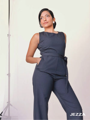 JEZZA Navy Blue Solid Basic Jumpsuit JAJZ27671