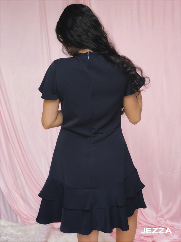 JEZZA Navy Blue Party Wear Dress  JAJZ27591