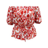 Blusa enresortada multi estampado. (4515602694186)