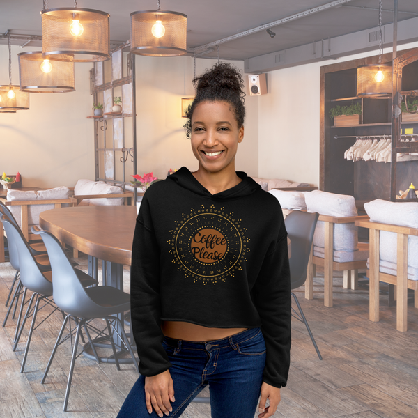 Coffee Please Crop Hoodie